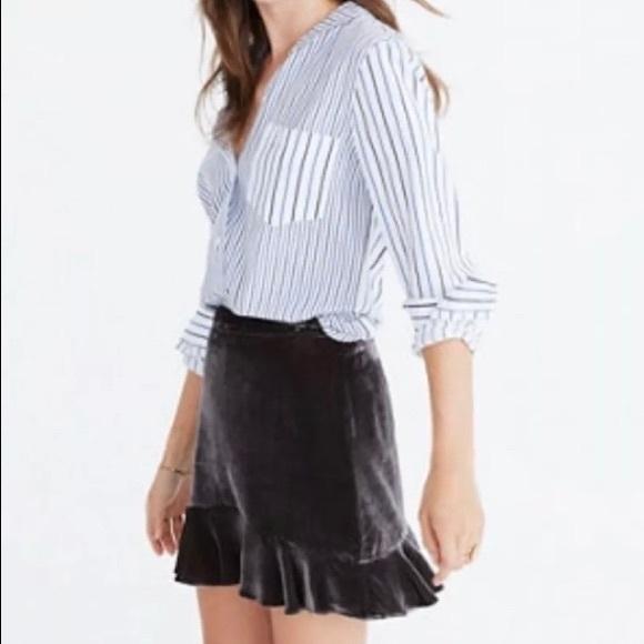Madewell Dresses & Skirts - Madewell Gray Bronze Velvet Ruffle Skirt New 2